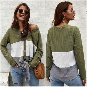 Olive Waffle knit color block tie front sweater